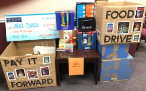 food boxes set up for collection