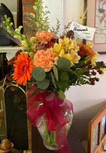 Brown's autum floral arrangement