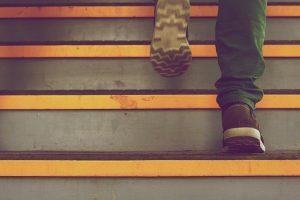 photo: sneakers climbing steps